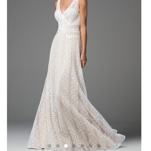 Watters Ivory Lace with Nude Lining Brighton Gown (Never Worn) Destination Wedding Dress Size 10 (M)