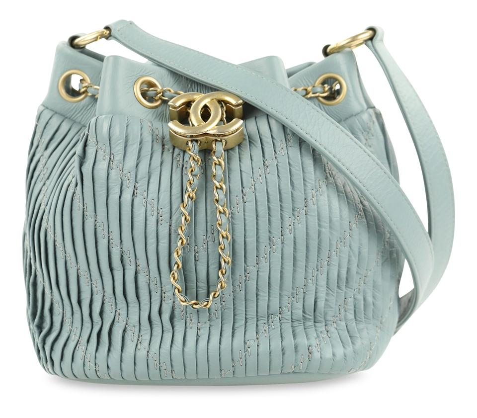 7bc15dd2066dd Chanel Coco Pleats Mini Bucket Pale Blue Leather Shoulder Bag - Tradesy