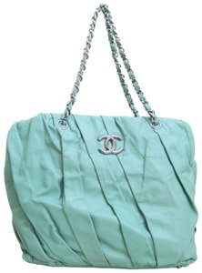 Chanel Large Twisted Calfskin Tote in aquamarine