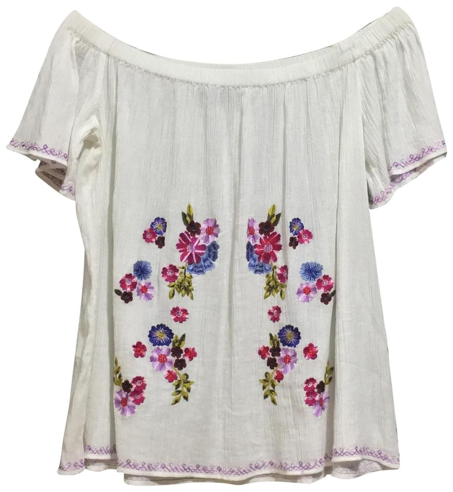 French Connection White Women s Jude Floral Embroidery Blouse Size 8 ... 385654600