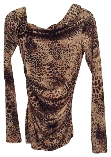 Item - Beige/Brown Leopard Print Blouse Size 4 (S)