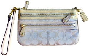 Coach Wristlet in Tan with Gold Hardware