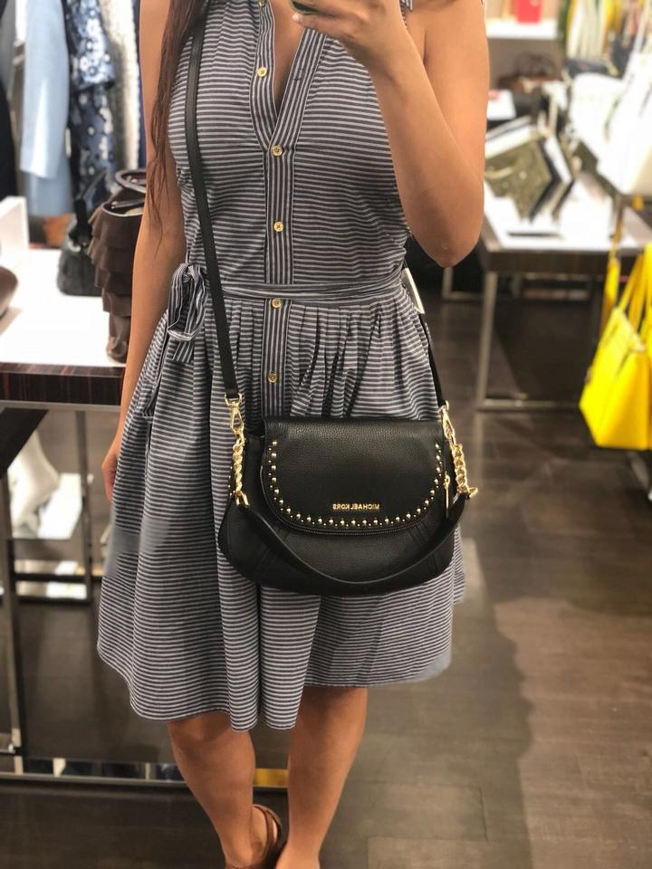 3de55a67d9e6 Michael Kors Aria Studded Medium Convertible Black Leather Shoulder Bag -  Tradesy