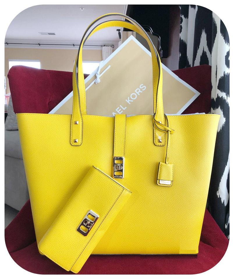 009998e5168b Michael Kors Leather Satchel Dusty Rose 35f7gbdt1l Tote in CITRUS YELLOW  Image 0 ...