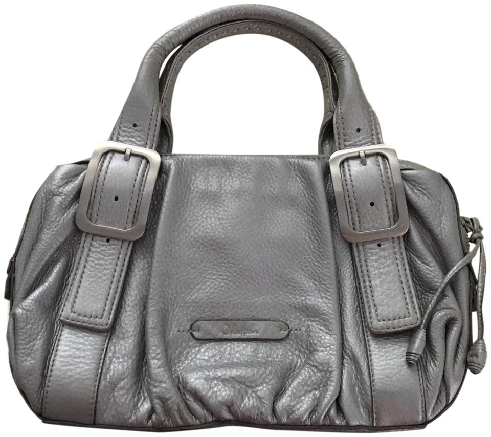 Cole Haan Metallic Purse Silver Leather Shoulder