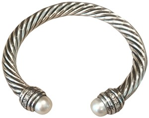 David Yurman Cable Classics Bracelet with Pearls and Diamonds, 7mm