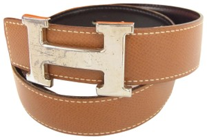 Hermès Hermes Constance Brown Black Leather H Logo Silver Belt 60