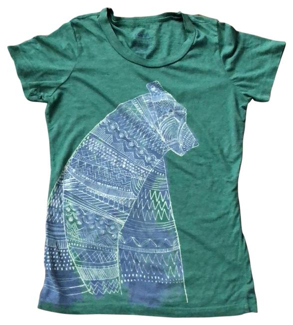 Item - Green and Blue Clear Sequin Embellished Tee Shirt Size 6 (S)