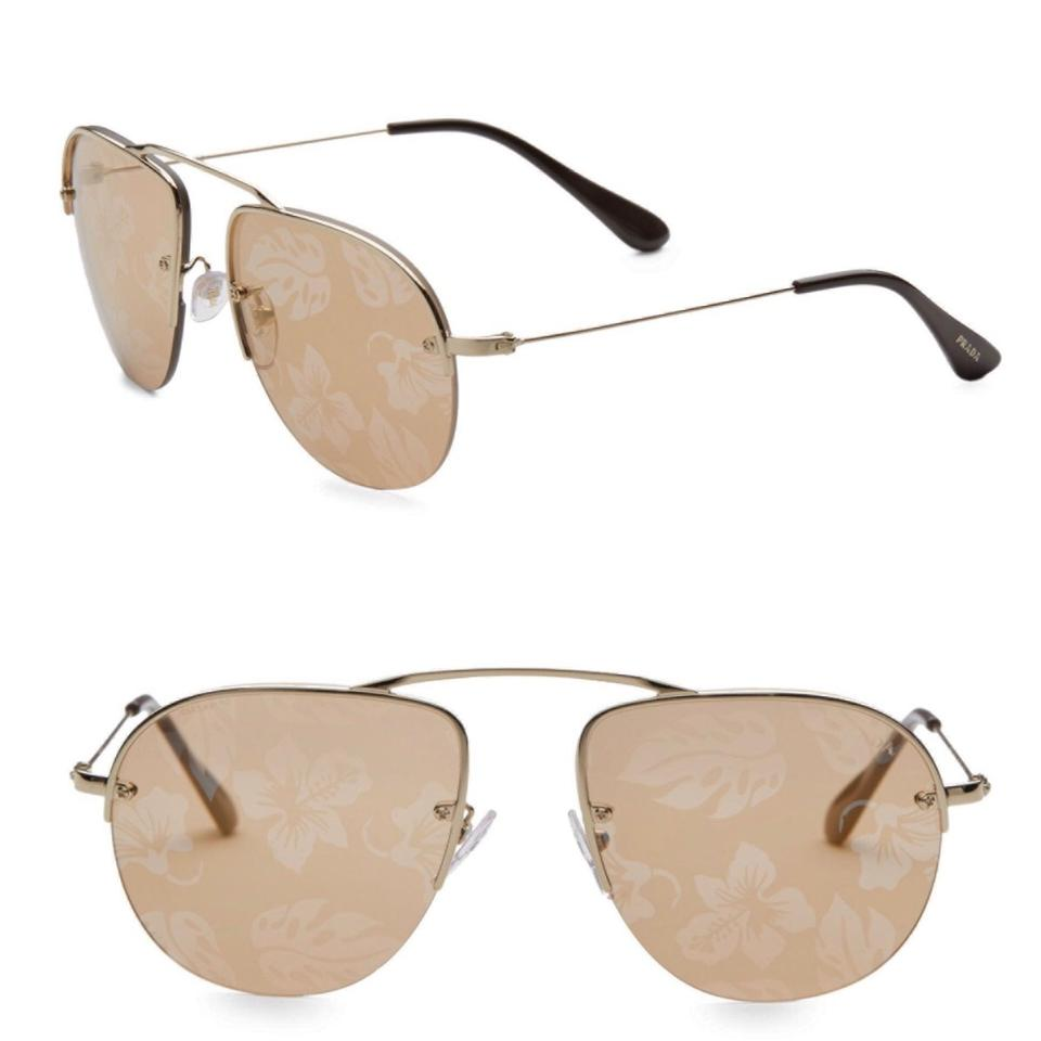 e2c7457ecf8 Prada Pale Gold Pilot Teddy 55mm Printed Aviator Sunglasses - Tradesy