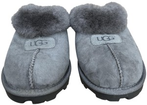 UGG Australia Leather Fur Lined Suede Grey Mules