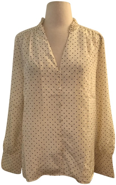 Item - Sun-dried Linen Silk Ruffle-neck In Dot J0273 Blouse Size 8 (M)