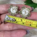 Chanel CHANEL CC LOGO WITH CAMELLIA FLOWER GOLD STUDDED EARRINGS Image 7