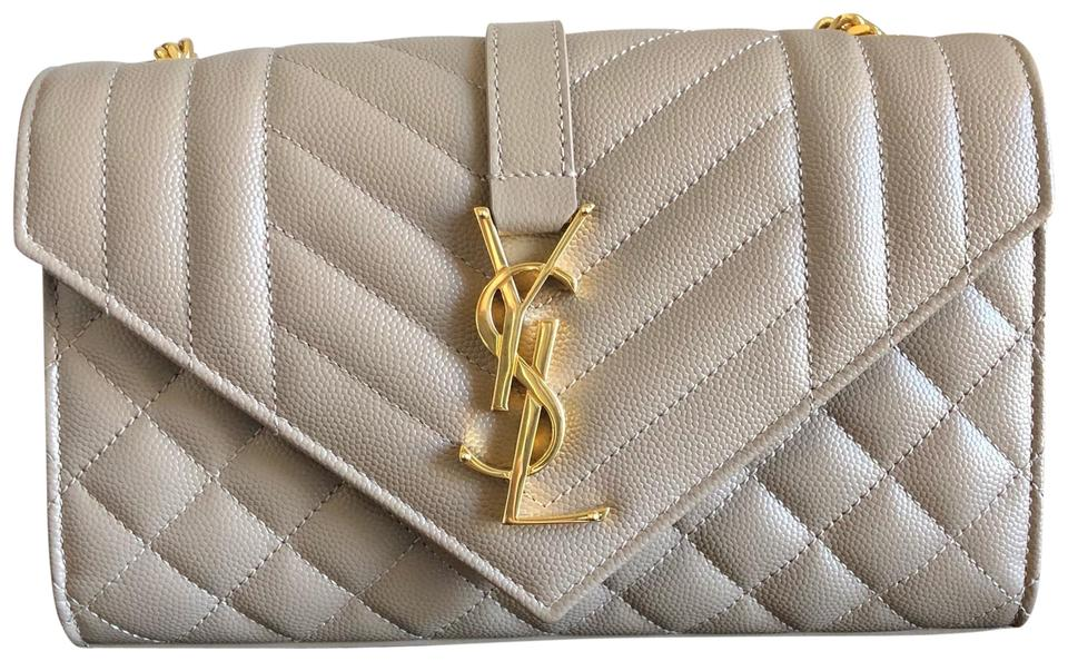 92b207a03214 Saint Laurent Cassandre Monogram Envelope Small Taupe Leather ...