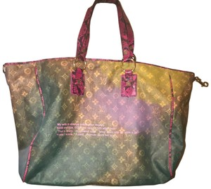 Louis Vuitton Tote in Green,hot pink, with tan interior.