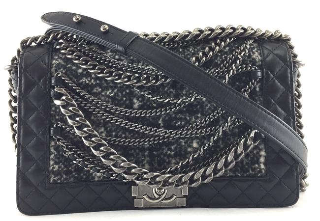 Item - Boy #21258 Extremely Rare Runway Le Cc Flap Enchained Medium Black and Multicolor Tweed with Oxidized Silver Hardware Lambskin Leather Shoulder Bag