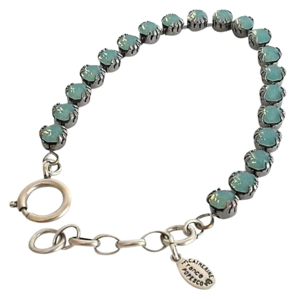 Catherine Popesco Sterling Silver Light Blue Round Stone Bracelet