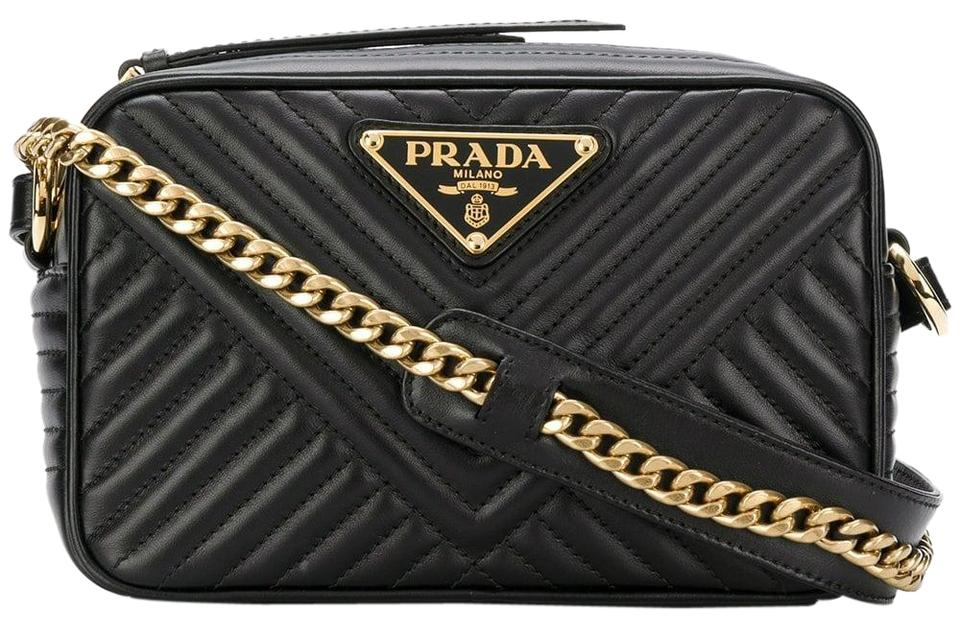 Matelassé Leather Calfskin Black Prada Bag Shoulder Crossbody AqFwdd8