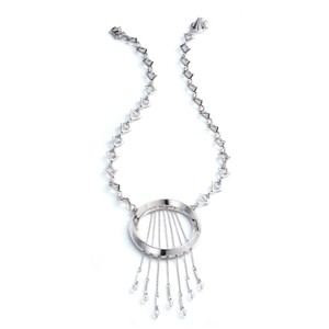 Eddie Borgo Silver Oracle Open Circle Chain Pendant Statement Necklace