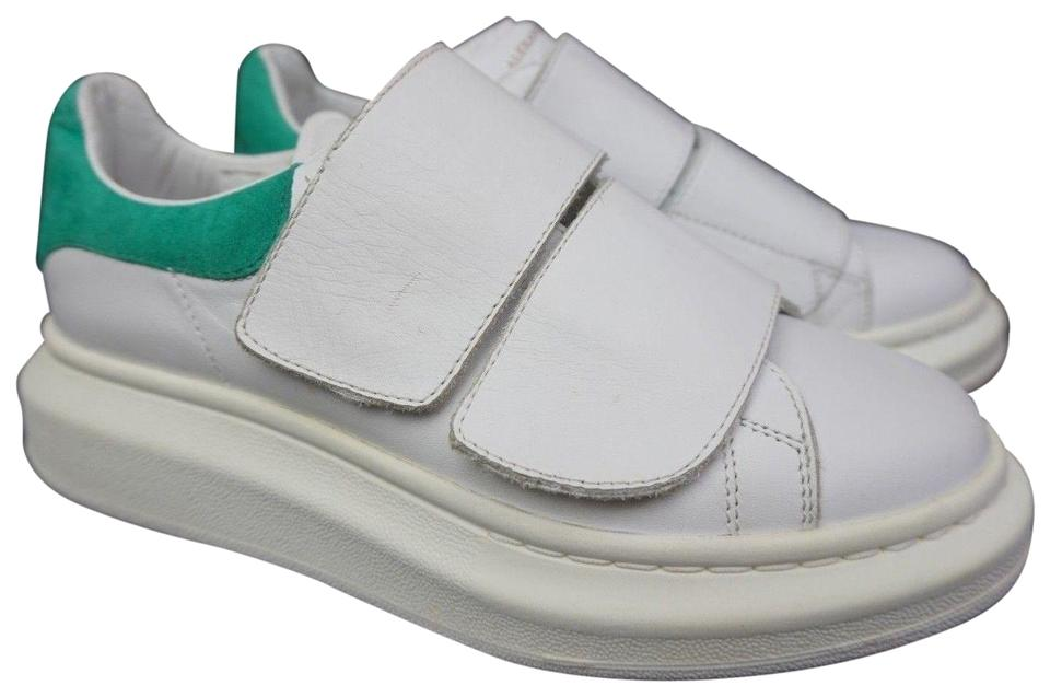 great quality pretty cheap classic style Alexander McQueen White Oversized Green Double Strap Sneakers Size ...