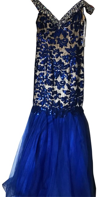 Item - Midnight Blue 14752 Long Cocktail Dress Size 4 (S)