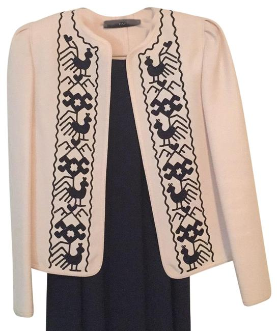 Item - Navy Blue and Cream Skirt Suit Size 8 (M)