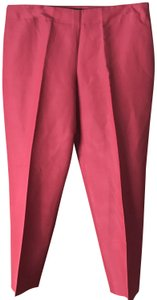 Talbots Curvy Side Zip Cotton/Silk Blend Ankle Flat Front Straight Pants Rust