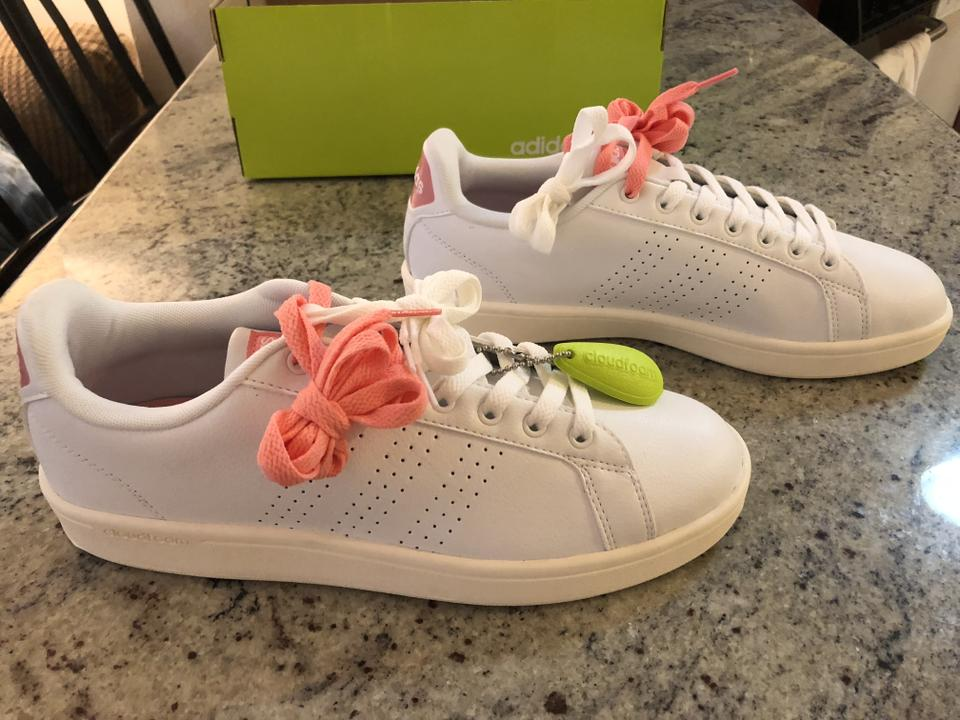 Advantage adidas Pink Women's Lifestyle Cloudfoam Neon Clean Sneakers White qrBwICr