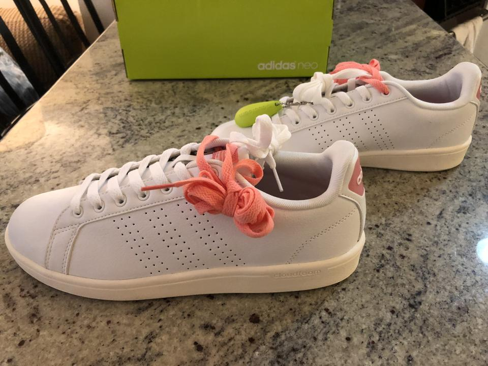 Cloudfoam adidas Pink Advantage Clean Neon White Sneakers Lifestyle Women's 6ttqwgv