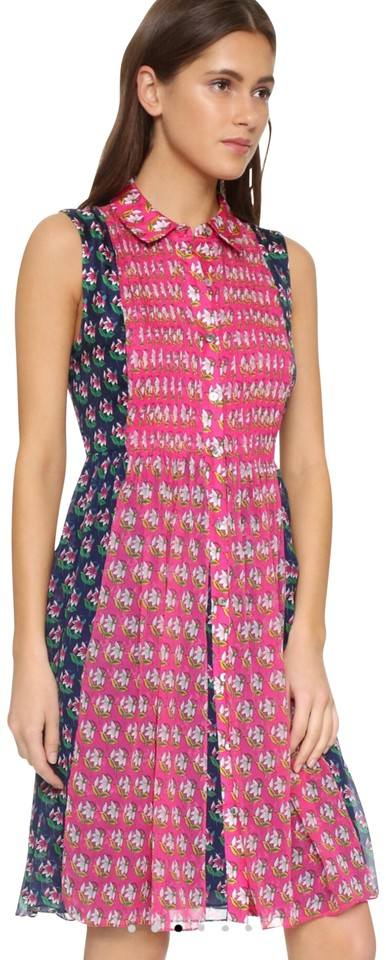 Diane Von Furstenberg Hot Pink And Multi Color Nieves Short Casual Dress