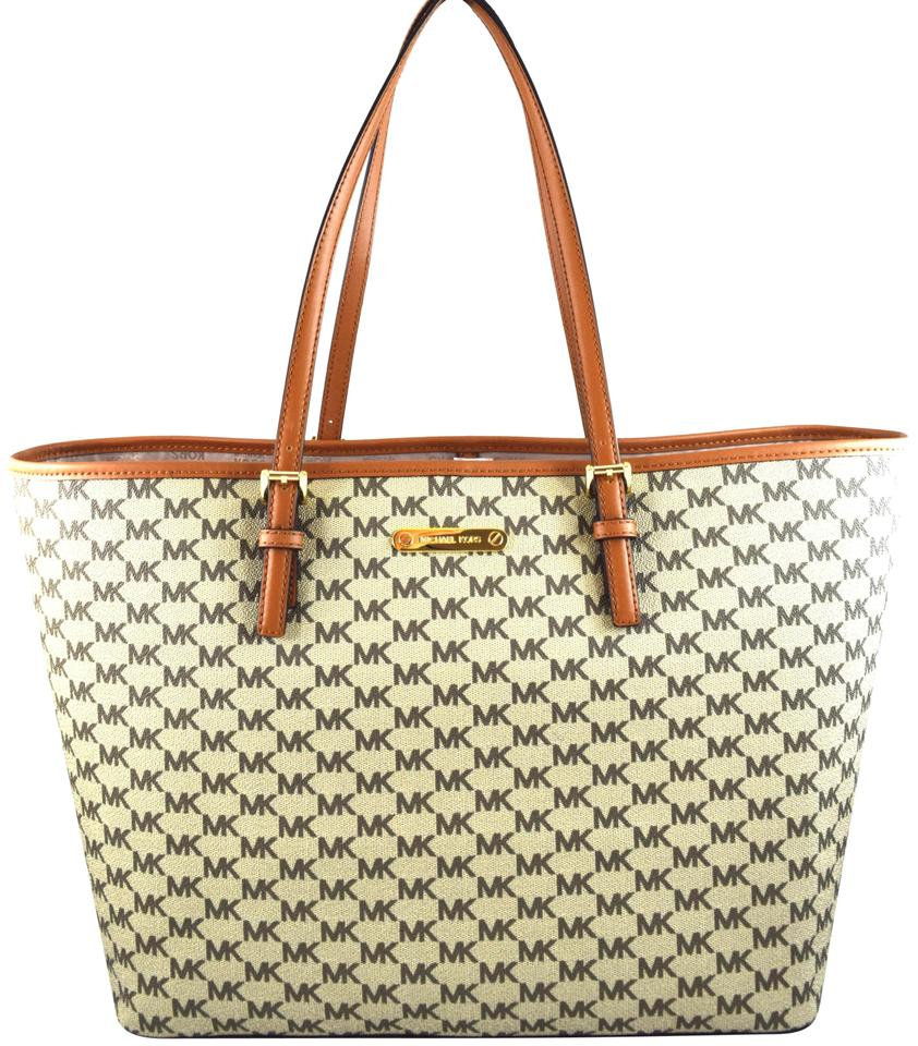 76a7d617735770 Michael Kors Jet Set Travel Large Carryall Brown Natural/Acorn Faux Leather  Tote