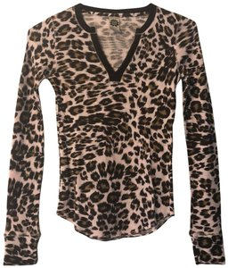 Lucky Brand Leopard Animal Print Longsleeve Winter Fall T Shirt Brown