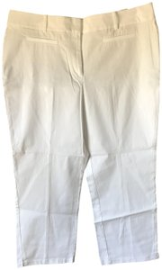 Ann Taylor New With Tags Curvy Belt Loops Flat Front Capri/Cropped Pants White