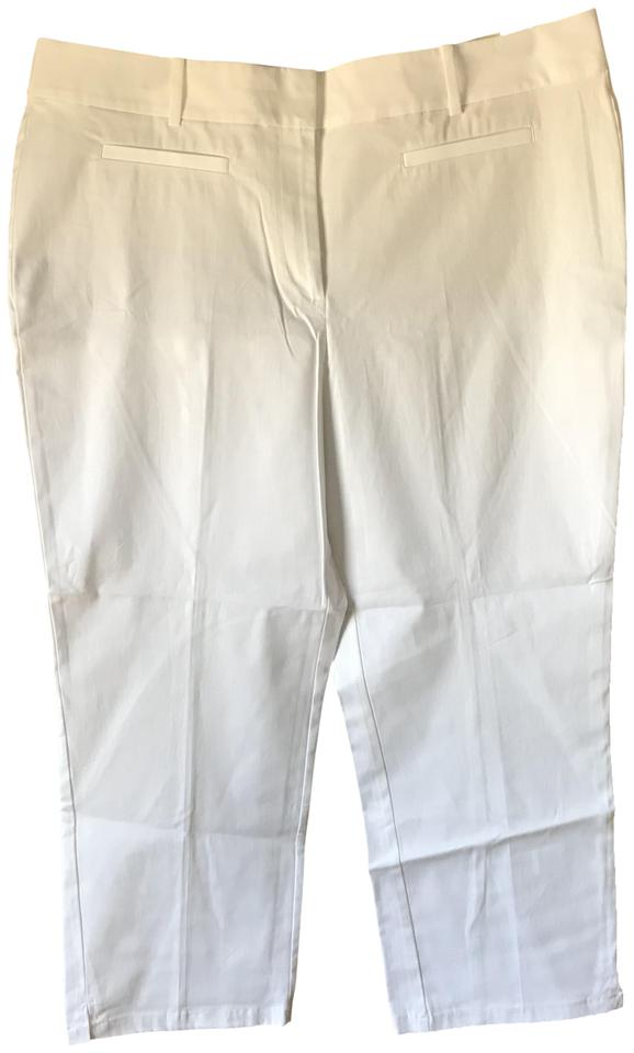 a155e23f3ea Ann Taylor New With Tags Curvy Belt Loops Flat Front Capri Cropped Pants  White ...
