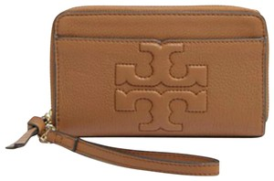 Tory Burch NEW TORY BURCH BOMBE T LOGO LEATHER WRISTLET ZIP WALLET BAG NWT