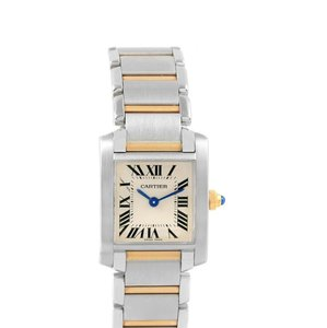 Cartier Silver Tank Francaise Steel Yellow Gold Quartz Ladies W51007Q4 Watch