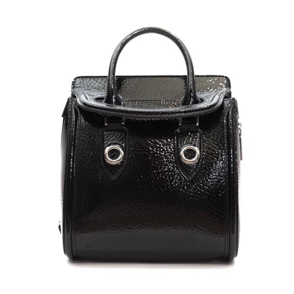 Heroine Leather Grainy McQueen Patent Satchel Eyelets Alexander Black qwASp4O
