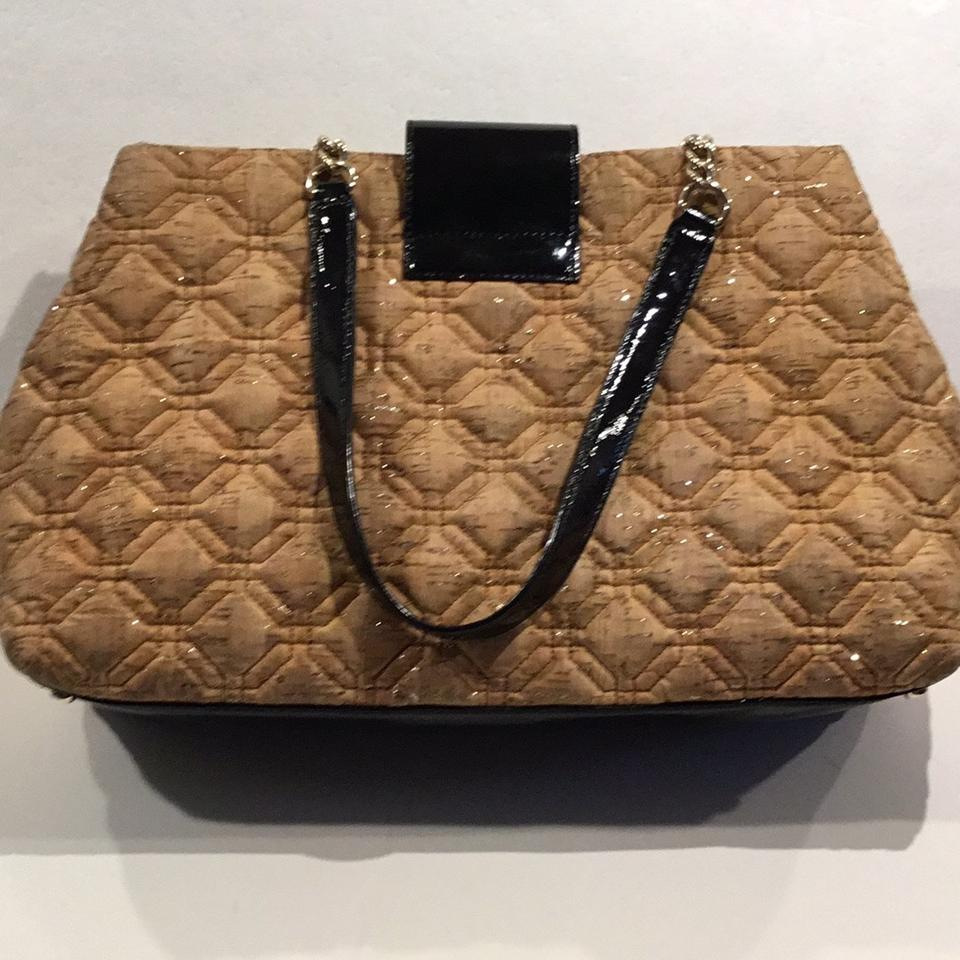 b75ad92baf76 Kate Spade Quilted Cork Shoulder Tan Black Patent Gold Threading ...