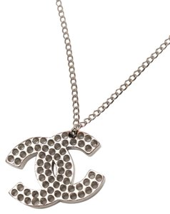 Chanel CHANEL Silver CC Logo punching Necklace