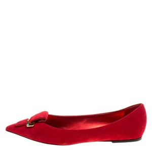 Le Silla Suede Pointed Toe Ballet Red Flats