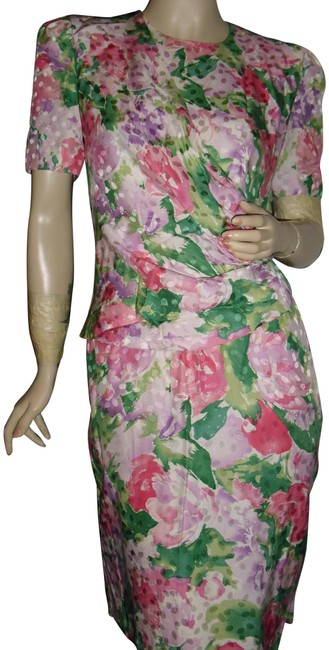 Item - Watercolor Pink Leaf Green Pure Silk Faux Wrap Draped Slit Hem Mid-length Short Casual Dress Size 4 (S)