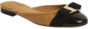 Salvatore Ferragamo Quilted Cap Toe Black/Beige/Gold Mules