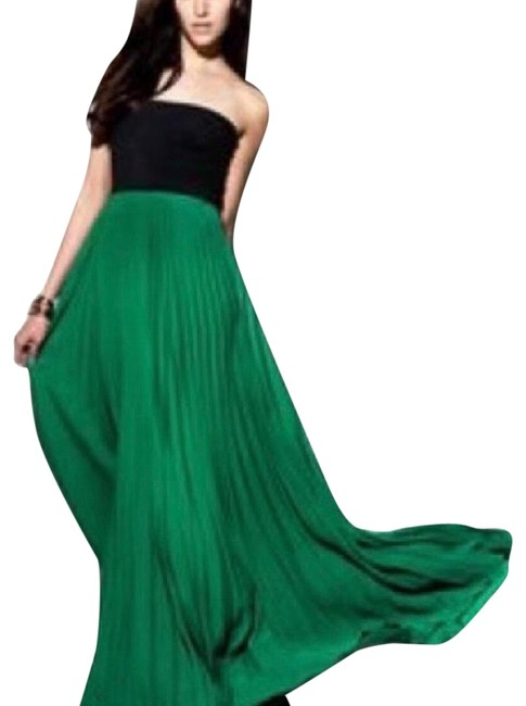 Item - Green Maxi Pleated Strapless Long Night Out Dress Size 12 (L)