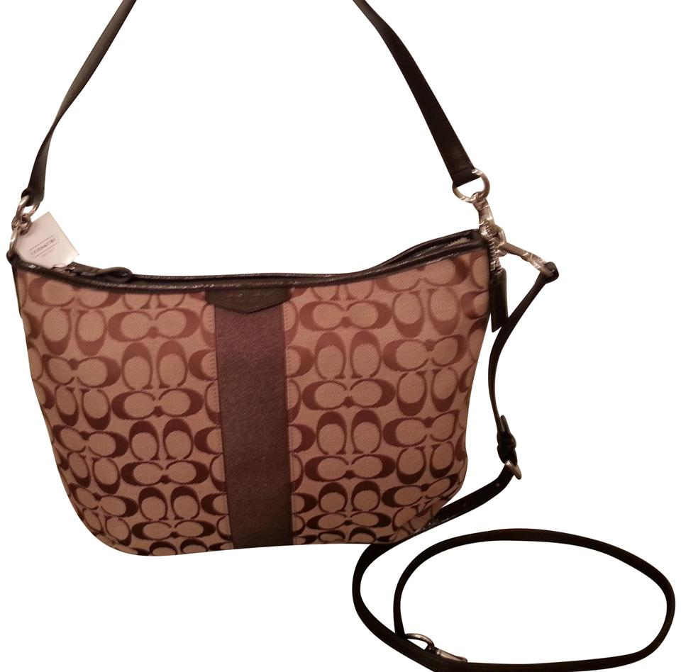 ac2615d0b89cc Coach Sis 12cm Convertible Shoulder Brown Khaki Signature Fabric ...