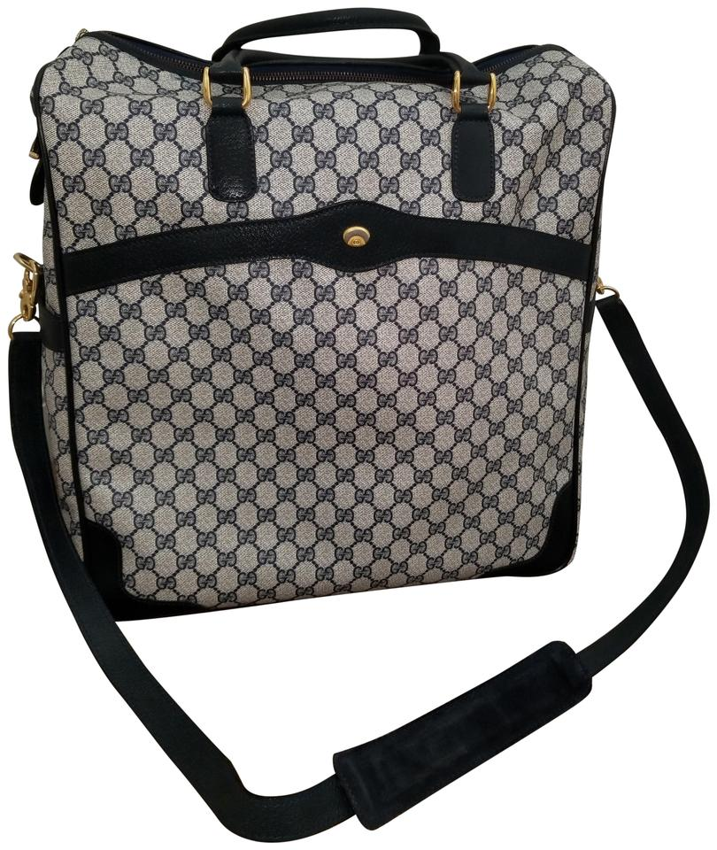 d50446844a19 Gucci Rare Vintage 2 Way Luggage Carry-on Tote Blue Monogram Canvas ...