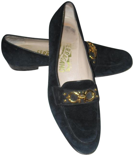 Item - Black - Suede Leather Gancini Bit Loafers Flats Size US 8.5 Narrow (Aa, N)