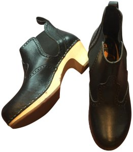 swedish hasbeens Leather Wooden Heel Ankle Clogs black Boots