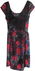Angie short dress Multi-Color Scoop Front/V-back Floral Print Laced V-back Wrap Back Cut-out Cap Sleeves on Tradesy