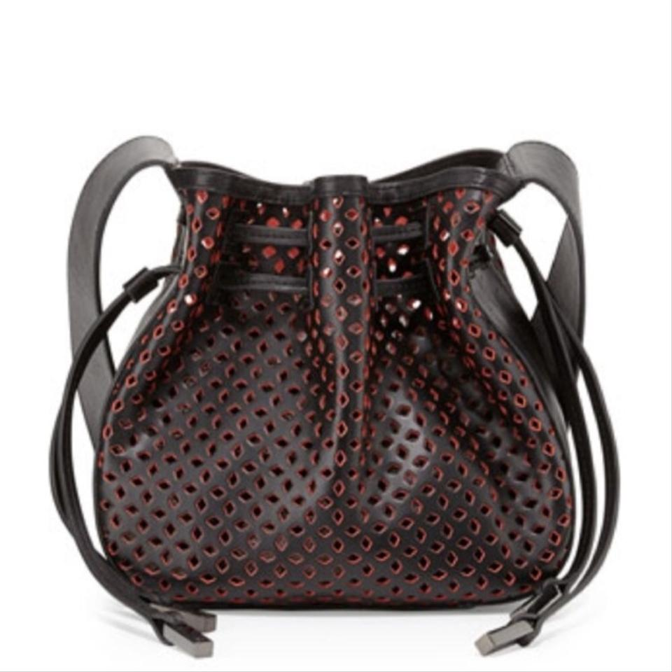 Red Black Halston Bianca Bag Body Cross Perforated pUpRAagq