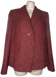 Max Mara Mint Condition Wool Size 12 By Two Button Closure Italian Made/Quality burgundy tweed with browns and yellows Blazer