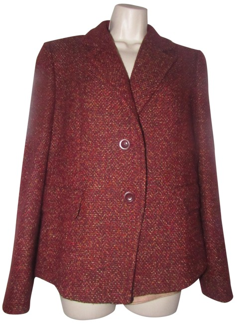 Item - Burgundy Tweed with Browns and Yellows Blazers/Designer Clothes Blazer Size 12 (L)